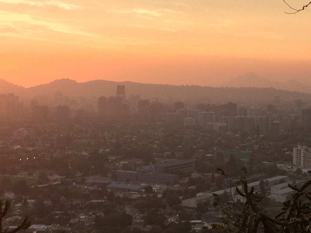 Sunset view from Cerro Calan on Las Condes and Vitacura
